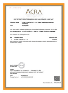 After you register a business in Singapore, you will be given a certificate of incorporation.